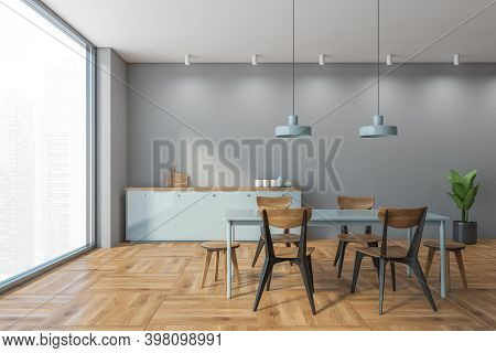 Grey And Wooden Dining Room With Minimalist Wooden Chairs And Light Blue Kitchen Counter Near Window
