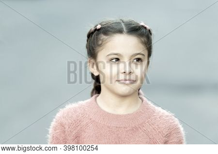 Fancy Look. Braided Cutie. Little Girl With Cute Braids Close Up. Kanekalon Strand In Braids Of Chil