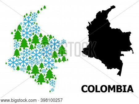Vector Mosaic Map Of Colombia Created For New Year, Christmas, And Winter. Mosaic Map Of Colombia Is
