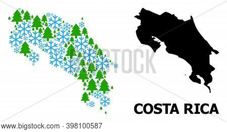 Vector Collage Map Of Costa Rica Organized For New Year, Christmas, And Winter. Mosaic Map Of Costa