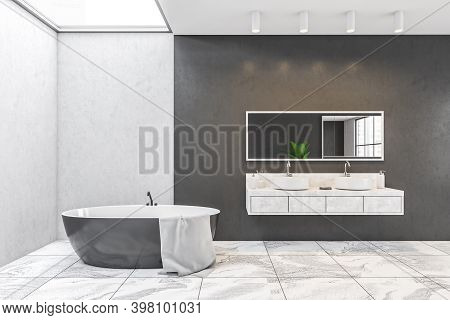 Black And White Walls, Minimalist Design Of Bathroom, Two White Sinks With Mirror, Bathtub With Towe