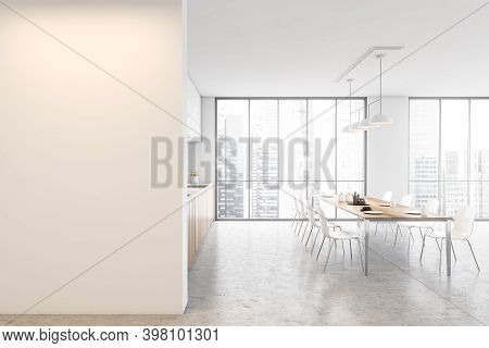 Mockup Copy Space In White And Wooden Minimalist Kitchen, Dining Table With Chairs And Dishes, Windo