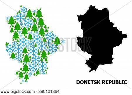 Vector Mosaic Map Of Donetsk Republic Organized For New Year, Christmas, And Winter. Mosaic Map Of D