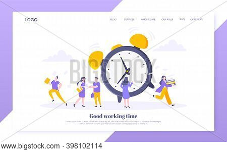 Good Working Time Or Effective Time Management Business Concept. Analog Alarm Clock Rings And People