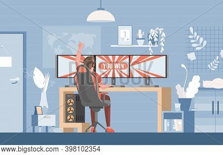 Young Man Sitting In Gaming Chair And Playing Video Games On Computer Vector Flat Illustration. Game