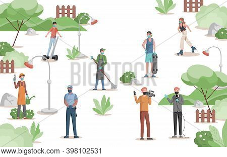 People Of Different Professions Doing Their Work In City Park Vector Flat Illustration. Gardener, Po