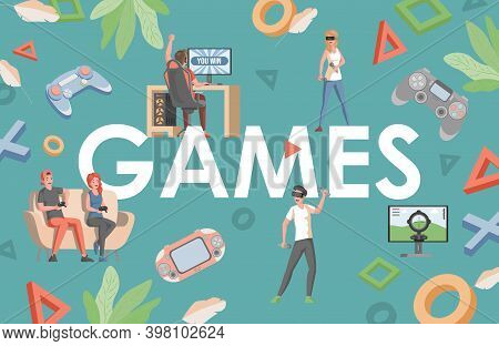 Games Word Vector Flat Banner Design. Happy Smiling People With Joysticks, Game Controllers Wearing