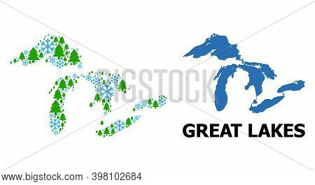 Vector Mosaic Map Of Great Lakes Combined For New Year, Christmas, And Winter. Mosaic Map Of Great L