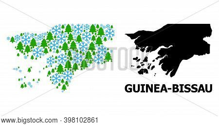 Vector Collage Map Of Guinea-bissau Created For New Year, Christmas, And Winter. Mosaic Map Of Guine
