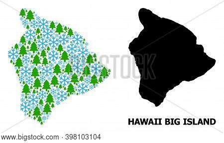 Vector Mosaic Map Of Hawaii Big Island Organized For New Year, Christmas, And Winter. Mosaic Map Of
