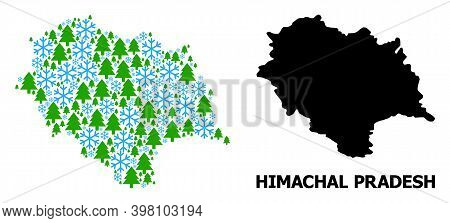 Vector Mosaic Map Of Himachal Pradesh State Created For New Year, Christmas, And Winter. Mosaic Map
