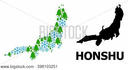 Vector Mosaic Map Of Honshu Island Done For New Year, Christmas, And Winter. Mosaic Map Of Honshu Is