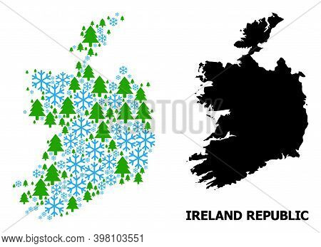 Vector Mosaic Map Of Ireland Republic Organized For New Year, Christmas, And Winter. Mosaic Map Of I