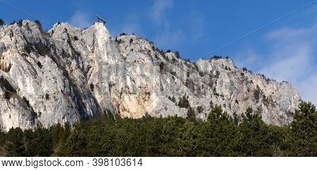 Hohe Wand Rock Face In Austria / Active Lifestyle Concept / Climbing / Hiking / Paragliding / Advent
