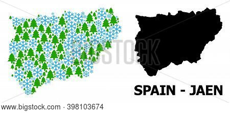 Vector Mosaic Map Of Jaen Spanish Province Organized For New Year, Christmas, And Winter. Mosaic Map