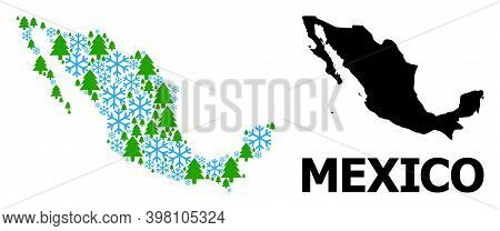 Vector Mosaic Map Of Mexico Constructed For New Year, Christmas, And Winter. Mosaic Map Of Mexico Is