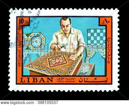 Lebanon - Circa 1978 : Cancelled Postage Stamp Printed By Lebanon, That Shows Inlay Worker, Circa 19