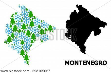 Vector Mosaic Map Of Montenegro Done For New Year, Christmas, And Winter. Mosaic Map Of Montenegro I