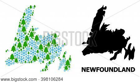 Vector Mosaic Map Of Newfoundland Island Designed For New Year, Christmas, And Winter. Mosaic Map Of