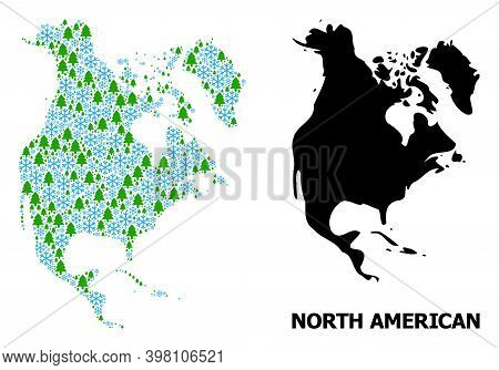 Vector Mosaic Map Of North America Combined For New Year, Christmas, And Winter. Mosaic Map Of North