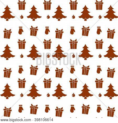 Happy New Year 2021, Merry Christmas Vector Seamless Pattern With Christmas Tree, Gifts, Christmas T