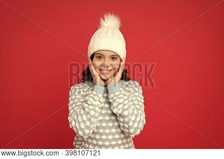 Angel Child. Child In Cosy Knitted Outfit. Winter Fashion. Childhood Happiness. Winter Activity. Pos