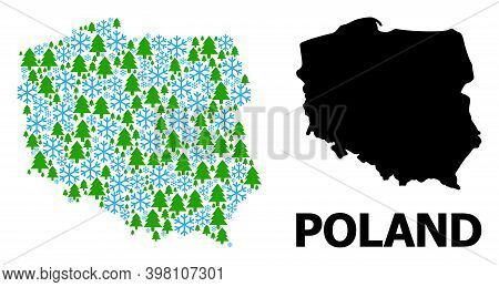 Vector Mosaic Map Of Poland Done For New Year, Christmas, And Winter. Mosaic Map Of Poland Is Done O