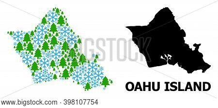 Vector Mosaic Map Of Oahu Island Constructed For New Year, Christmas, And Winter. Mosaic Map Of Oahu