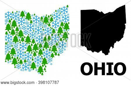 Vector Mosaic Map Of Ohio State Done For New Year, Christmas, And Winter. Mosaic Map Of Ohio State I