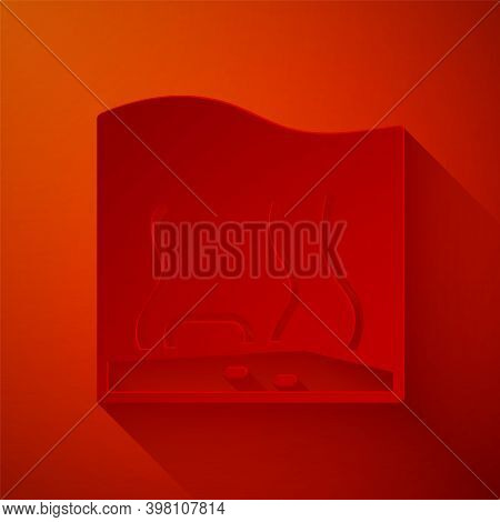 Paper Cut Aquarium Icon Isolated On Red Background. Aquarium For Home And Pets. Paper Art Style. Vec