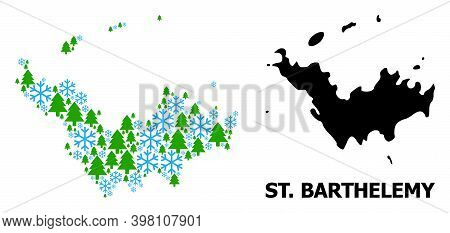 Vector Collage Map Of Saint Barthelemy Designed For New Year, Christmas, And Winter. Mosaic Map Of S
