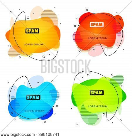 Black Spam Icon Isolated On White Background. Abstract Banner With Liquid Shapes. Vector