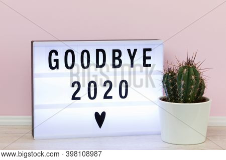 Farewell to a bad year 2020. Lightbox with goodbye message and potted cactus.