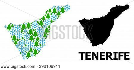 Vector Mosaic Map Of Tenerife Island Created For New Year, Christmas, And Winter. Mosaic Map Of Tene