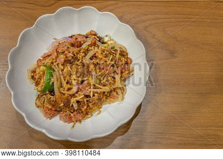 Fermented Pork And Crisp Rice Salad Or Yam Naem Khao Tod Recipe. Thai Food Spicy Popular Appetizer M