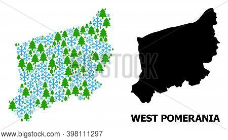 Vector Mosaic Map Of West Pomerania Province Created For New Year, Christmas, And Winter. Mosaic Map