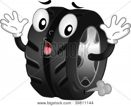Mascot Illustration of a Shocked Flat Tire with Air Leaking Out