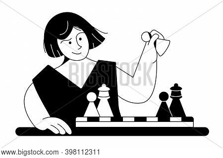 Chess Royal Gambit. Young Woman Learns To Play Chess At Table. Girl Makes Pawn Move Over Chessboard
