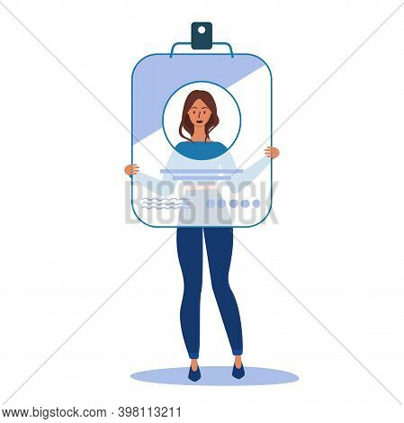 Flat Vector Cartoon Illustration Of A Woman Holding A Large Id Card. Security Access Id Pass Card. C