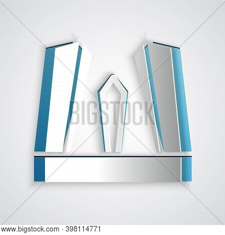 Paper Cut Gate Of Europe Icon Isolated On Grey Background. The Puerta De Europa Towers. Madrid City,