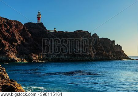View of sea and cliffs near a Punto Teno lighthouse.Tenerife. Canary Islands. Spain