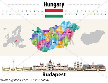 Hungary Administrative Divisions Map. Flag Of Hungary. Budapest Cityscape. Vector Illustration