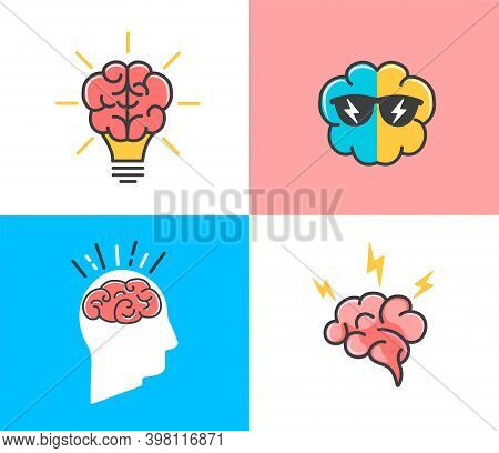 Set Of Different States Of Brain.concepts Of Brainstorming, Idea, Creativity And New Inspirration.ic