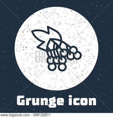 Grunge Line Branch Viburnum Or Guelder Rose Icon Isolated On Grey Background. Healthful Viburnum Fru