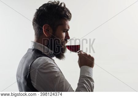 Glass Of Wine. Red Wine. Man In Suit Drinks Wine. Alcohol. Wine. Man With Bordeaux. Tasting Alcohol