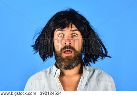Emotions. Surprised Man In Wig. Surprised Bearded Man. Portrait Of Surprised Man. Isolated. Wig. Col