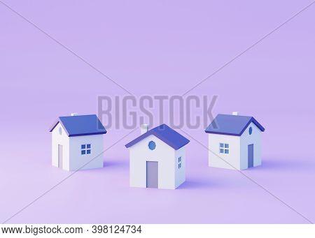 Three Simple Houses On Violet Background, 3d Render