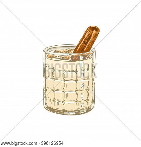 Glass Horchata With Stick Cinnamon. Vector Vintage Hatching Color Illustration. Isolated On White Ba