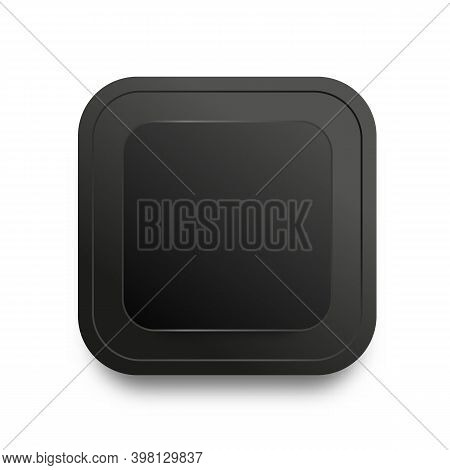 Black Button Template With Realistic Shadow Isolated On White Background. Plate With Round Corner Su