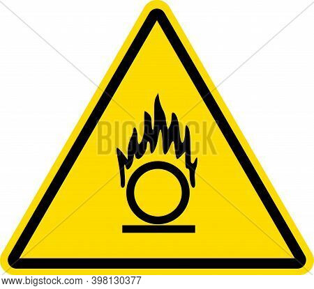 Oxidizing Material warning sign.Yellow triangle background. Safety signs and symbols.